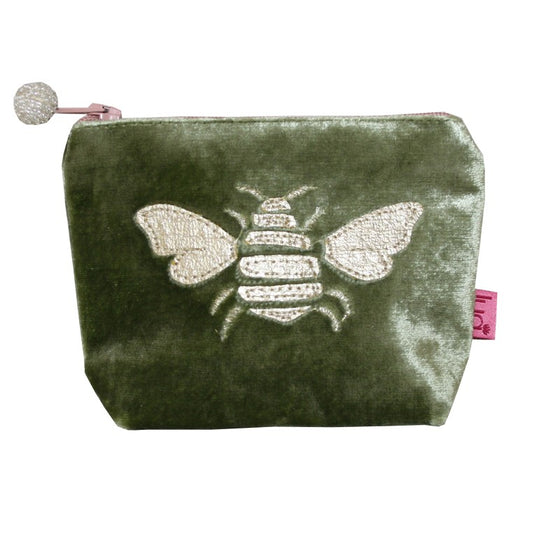 Olive velvet coin purse with metallic Bee print