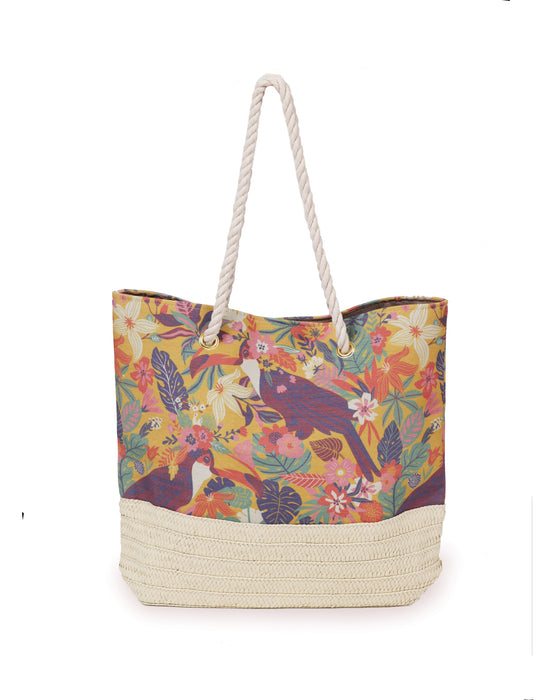 Powder Toucan Print Beach Bag