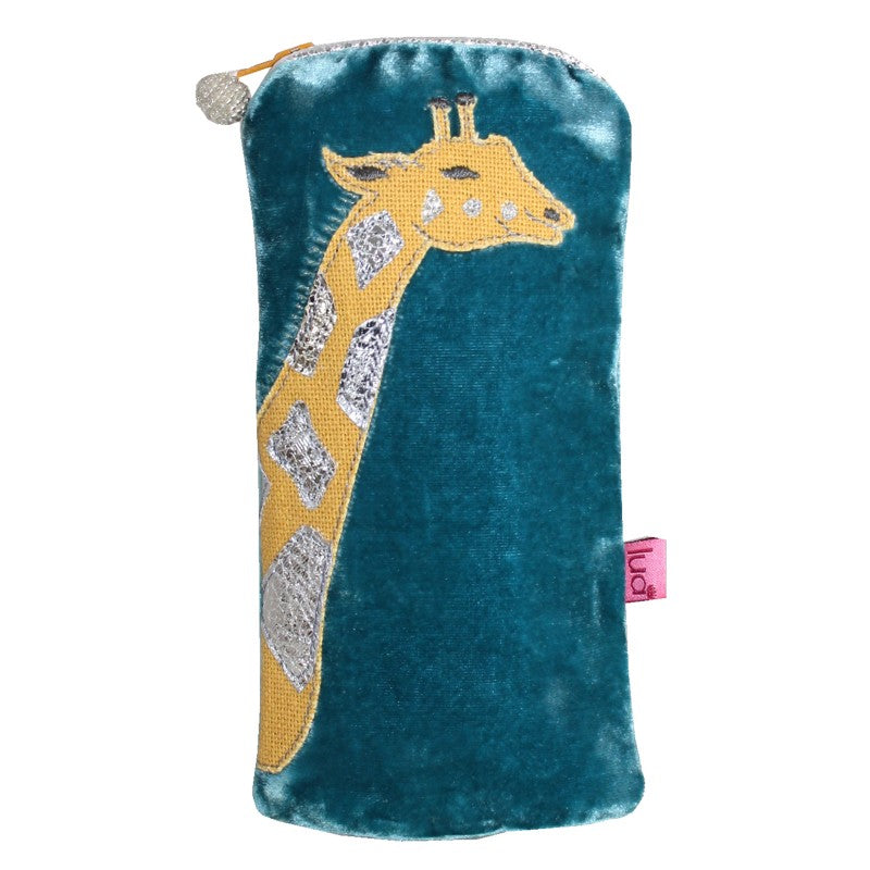 Bright blue velvet glasses case with sparkly giraffe applique..