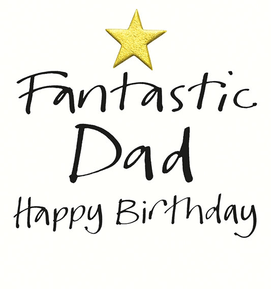 Lucille Lavender Card, Fantastic Dad, Happy birthday golden Star.