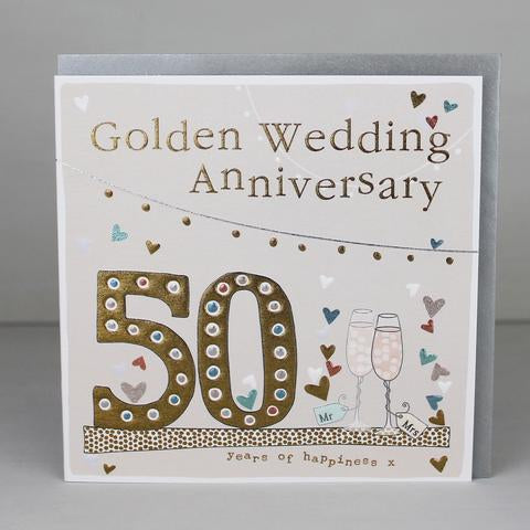 130mm x 130mm golden wedding with gold 50 and two glasses card