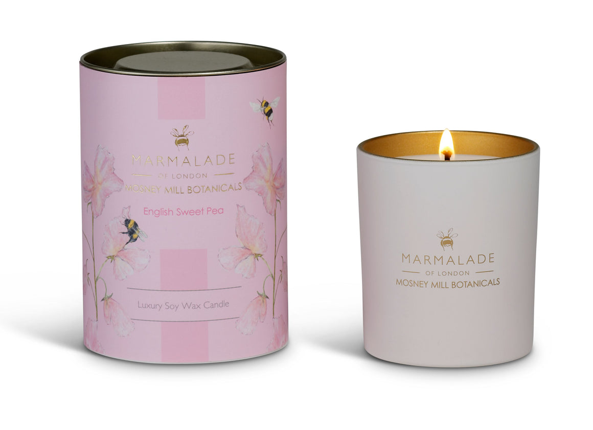 Mosney Mill in partnership with Marmalade of London English sweet pea glass candle with pale pink design and bees