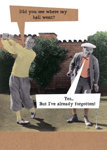 golfers on golf course - did you see where my ball went - yes but i've already forgotten