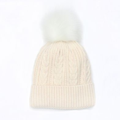 Oatmeal Cable Knit Faux Fur Bobble Hat