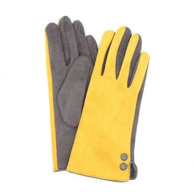 Mustard and Grey Trim Faux Suede Gloves