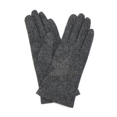 Grey Wool Gloves With Star Embellishment