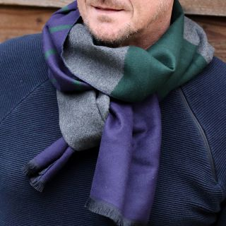 Men's Grey, Green and Navy Striped Scarf