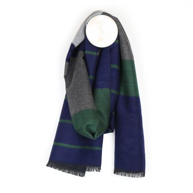 Men's green, grey and navy marl striped scarf