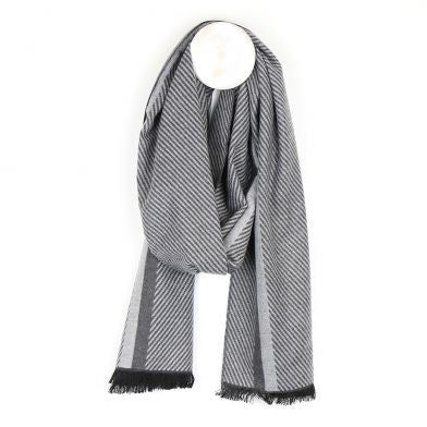 Men's Grey Mix Herringbone Striped Scarf