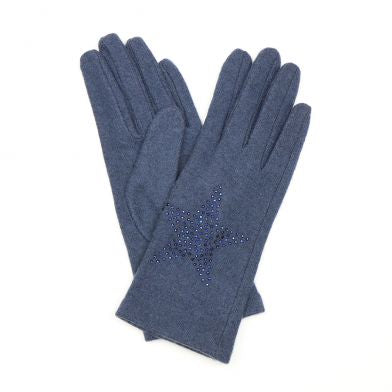 Blue Wool Gloves With Star Embellishment