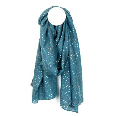 Teal polyester scarf with small rose gold spots