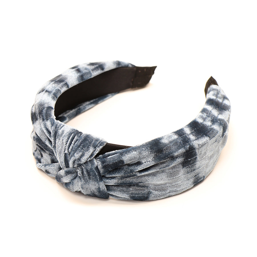 pale blue crushed velvet headband with knot at the front