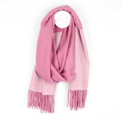pink herringbone mix soft scarf with fringed ends