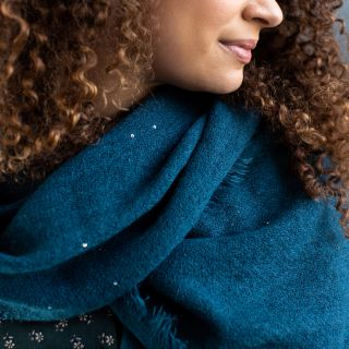 Teal Sequin Wrap Scarf