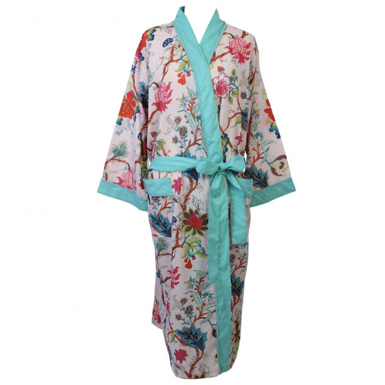 Pink Floral Cotton Dressing Gown