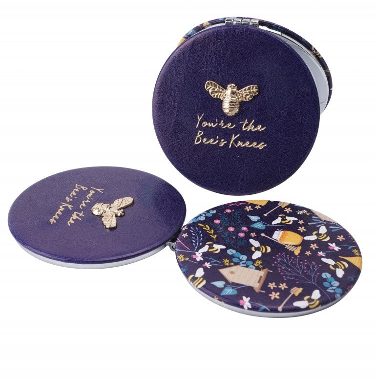 Purple Bee Compact Mirror - You're The Bee's Knees