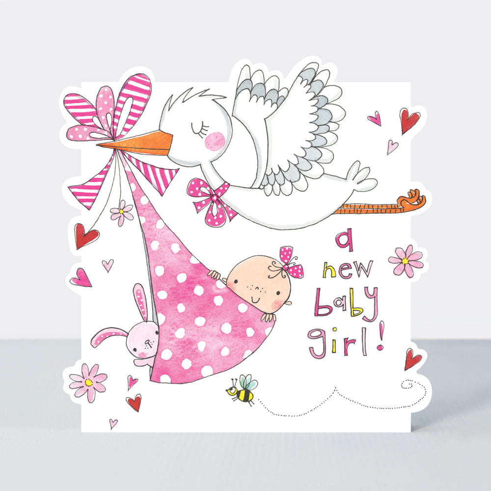 a new baby girl! stork with baby and bunny in a sling