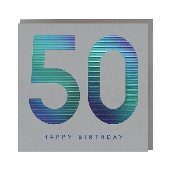 grey card with blue 50
