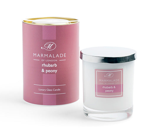 Marmalade of London Rhubarb & Peony Large Glass Candle 50 hrs