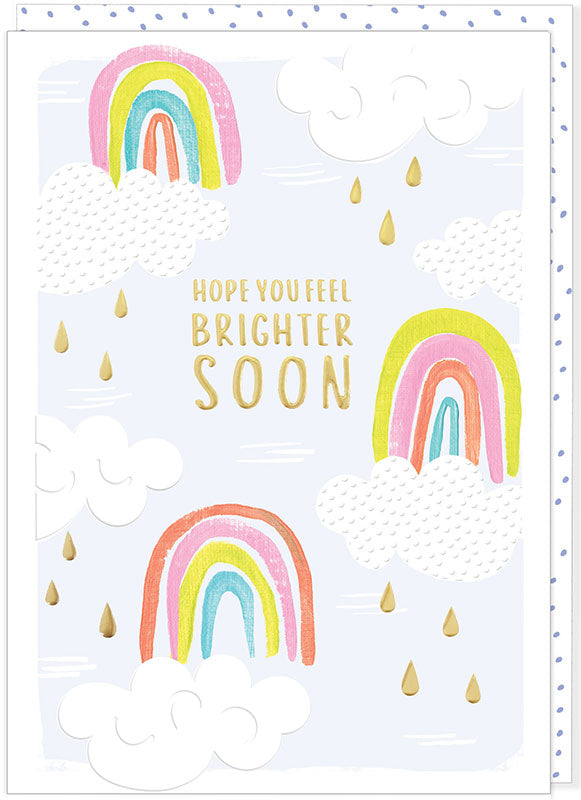 pastel rainbows with white clouds with gold raindrops