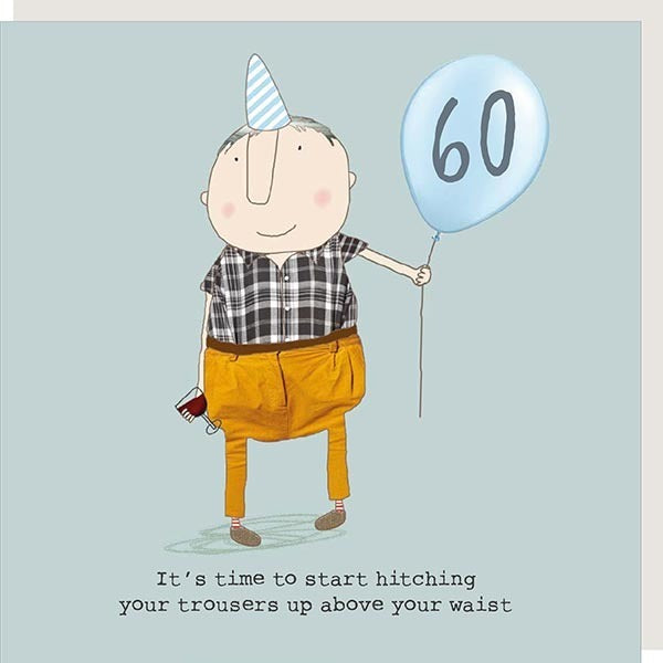 Man wearing a hat holding a balloon with 60 on