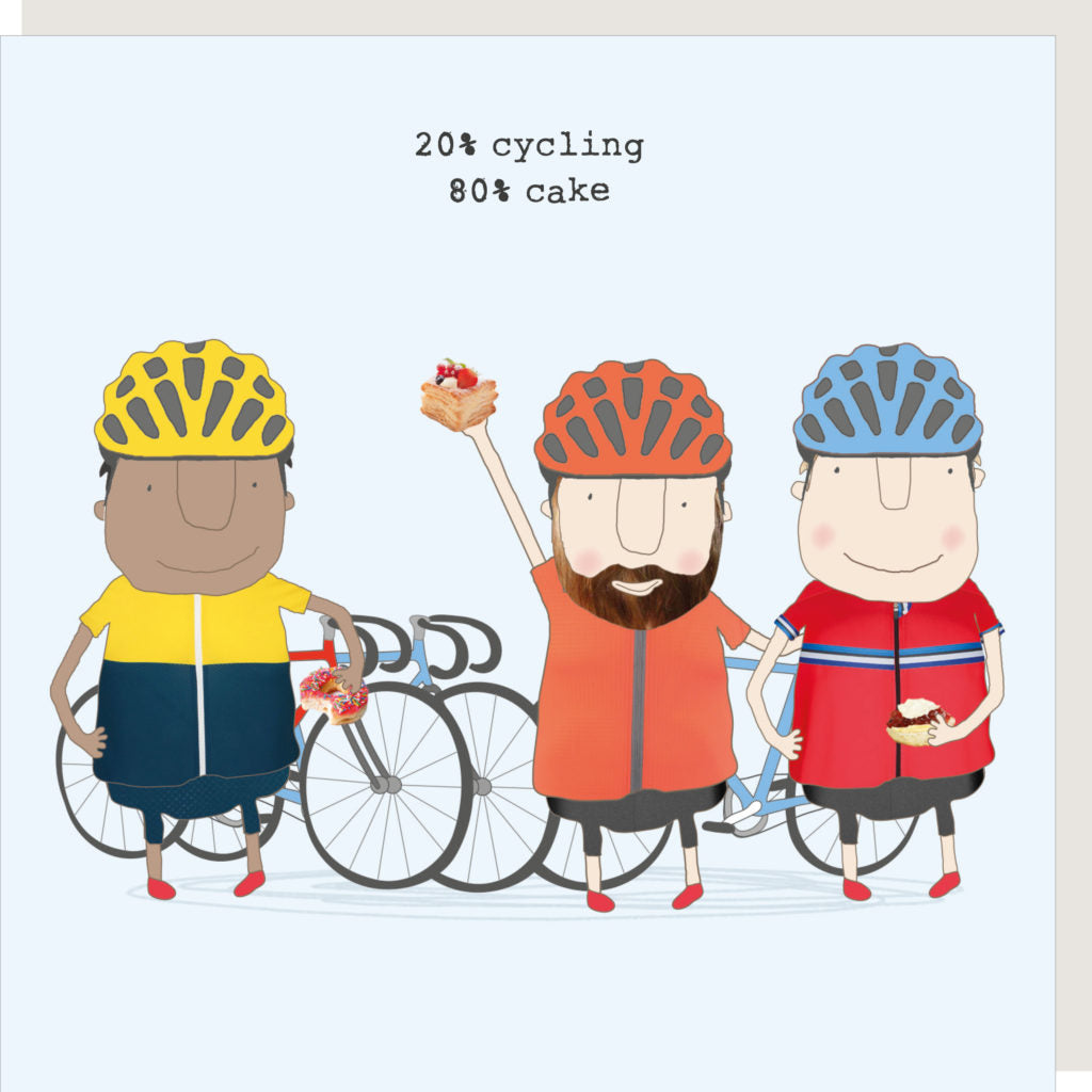 Three colourful cyclists in lycra holding a piece of Birthday cake