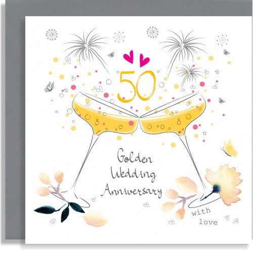 champagne glasses 50th golden wedding anniversary