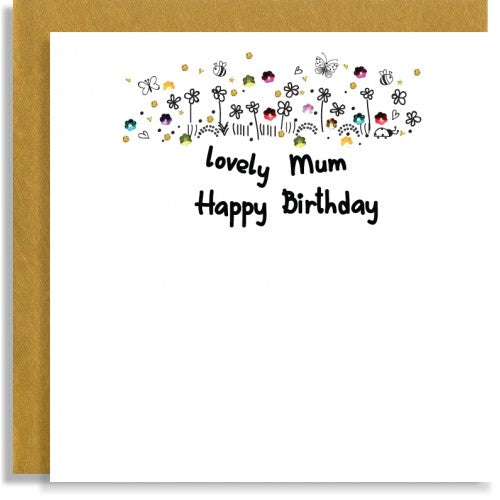 lovely mum happy birthday flowers with gems at the top of the card