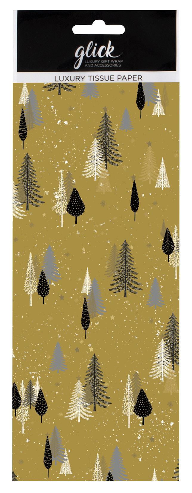 Luxury Gold Tissue Paper with Christmas Trees