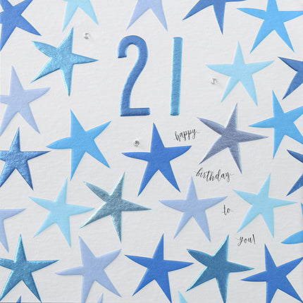 happy birthday to you age 21 blue stars