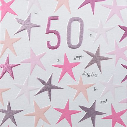 wendy jones blackett 50 female card with pink stars