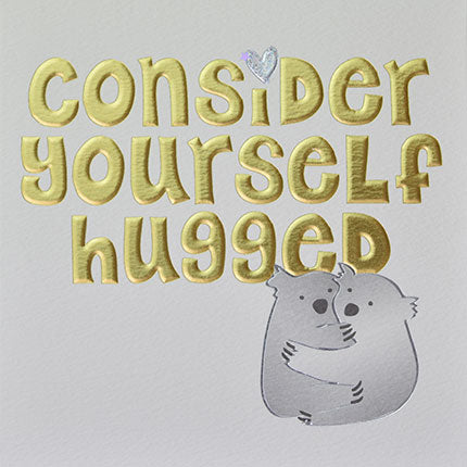 wendy jones blackett consider yourself hugged koalas hugging gold embossed card