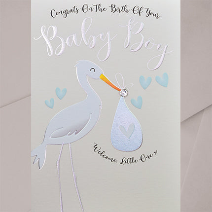 congrats on the birth of your baby boy stork with bundle