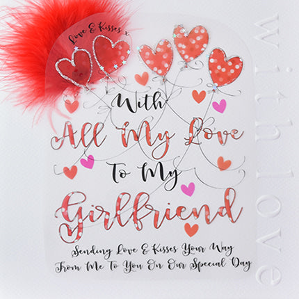 love and kisses with all my love to my boyfriend, sending love & kisses your way from me to you on our special day. with red feathers large card