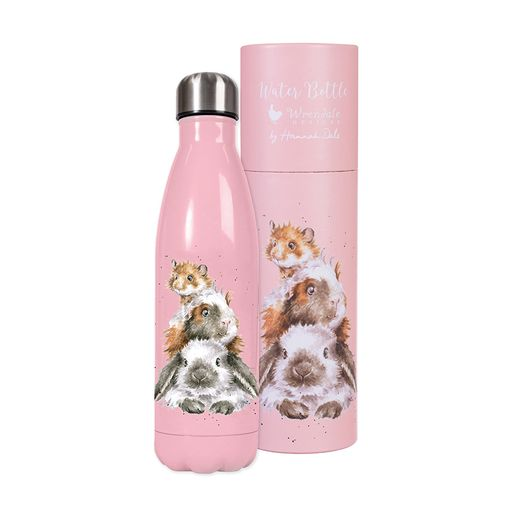 Wrendale-piggy-in-the-middle-pink-water-bottle-guinea-pigs