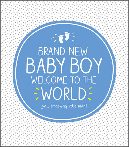 Happy Jackson, Brand New Baby Boy, Blue Circle with Bold Lettering in white