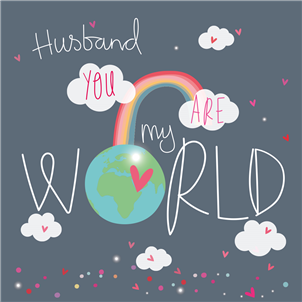 Husband you are my world clouds rainbow and glove with red heart on it