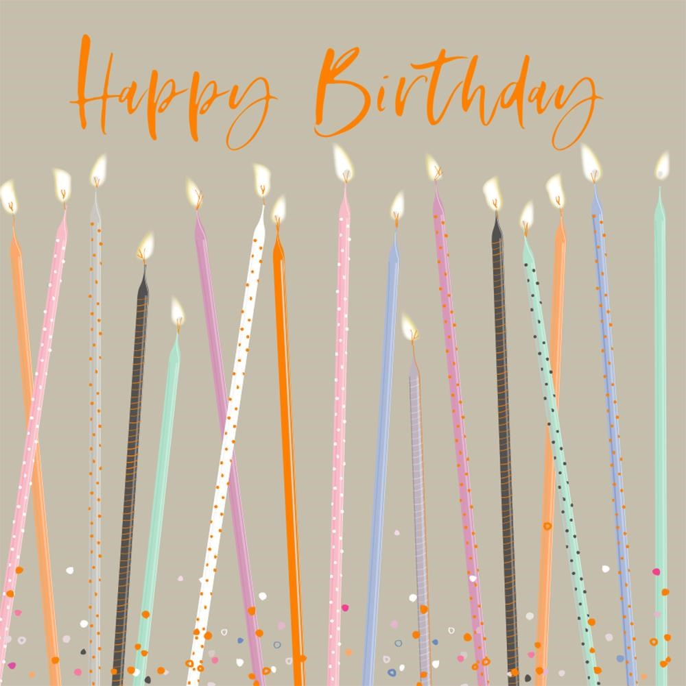 luxury card with multi coloured tapered candles and happy birthday in gold