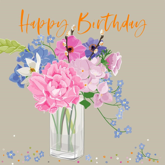 luxury card with flowers in vase with gold Happy Birthday