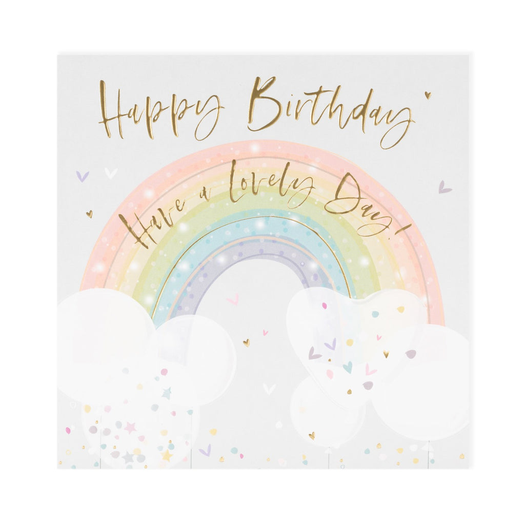pale grey luxury card with clouds either end of a rainbow happy birthday have a lovely day