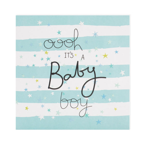 pale blue and white stripes with stars and black writing oooh it's a baby boy