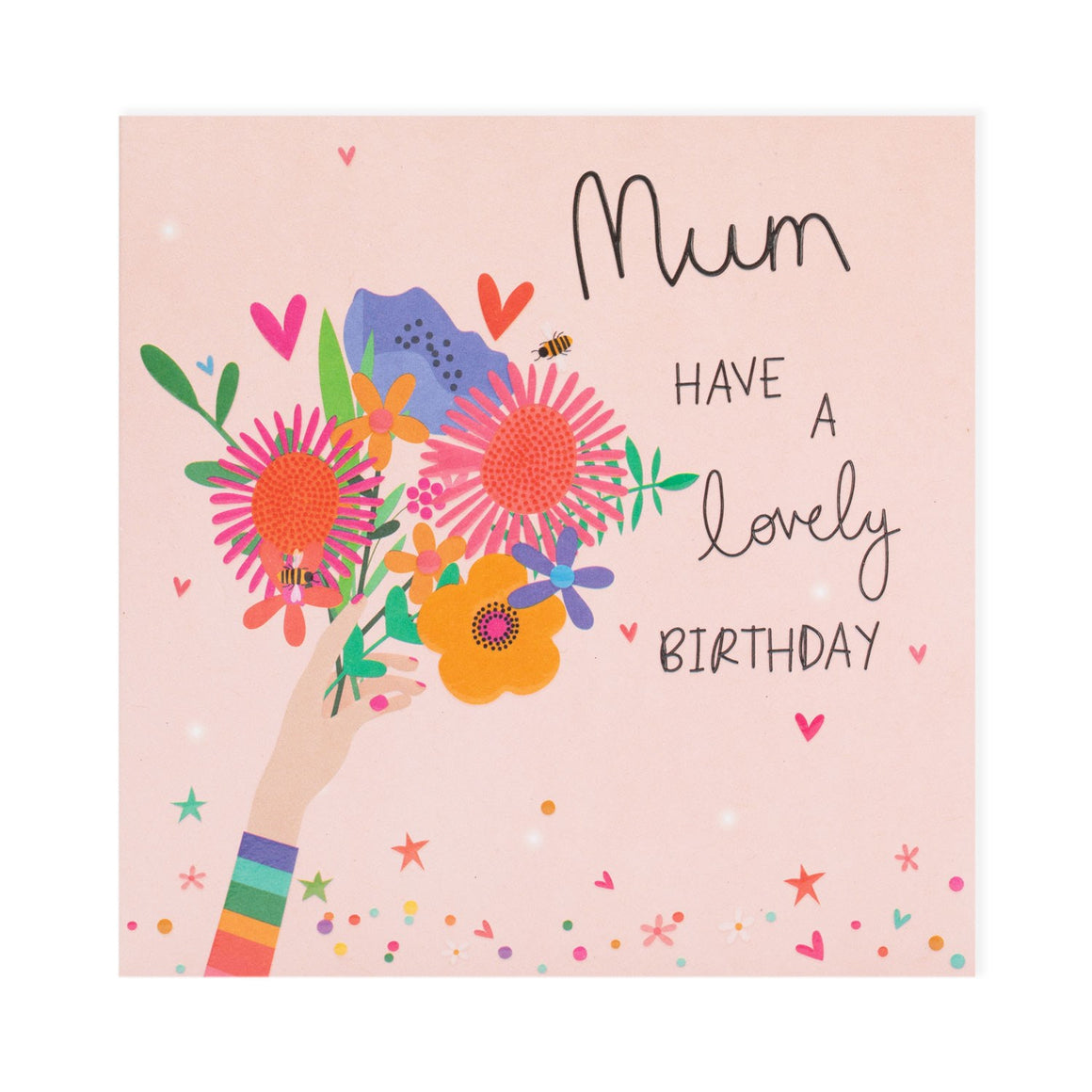 mum have a lovely birthday rainbow colours with a hand holding a bunch of flowers