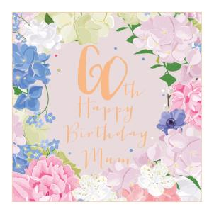 60th happy birthday mum pink and blue flowers large luxury card