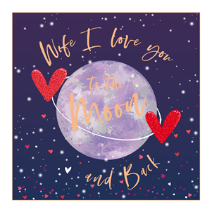 Large luxury card wife I love you to the moon and back navy red and gold with world on