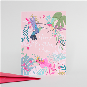 vibrant poink card with happy birthday mum in white writing and floral birds