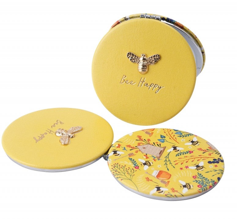 Yellow Bee Compact Mirror - Bee Happy