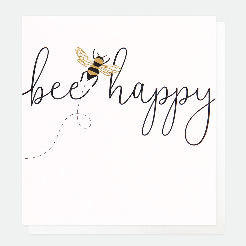 cream card with bee happy and picture of a bee