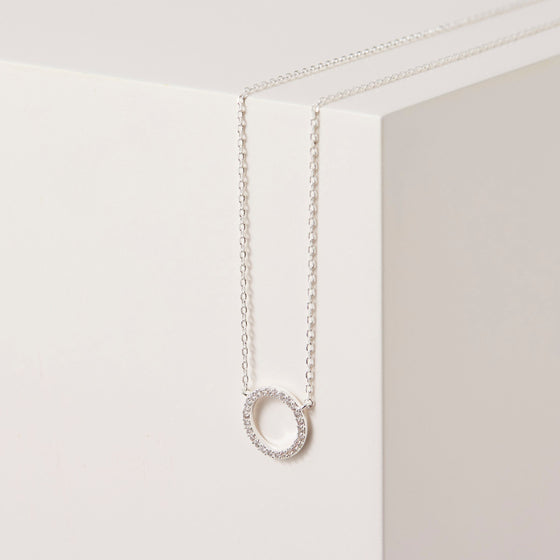 Estella Bartlett Silver Plated CZ Circle Necklace