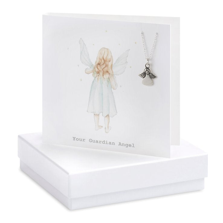 Crumble & Core Sterling Silver Angel Boxed Necklace Card