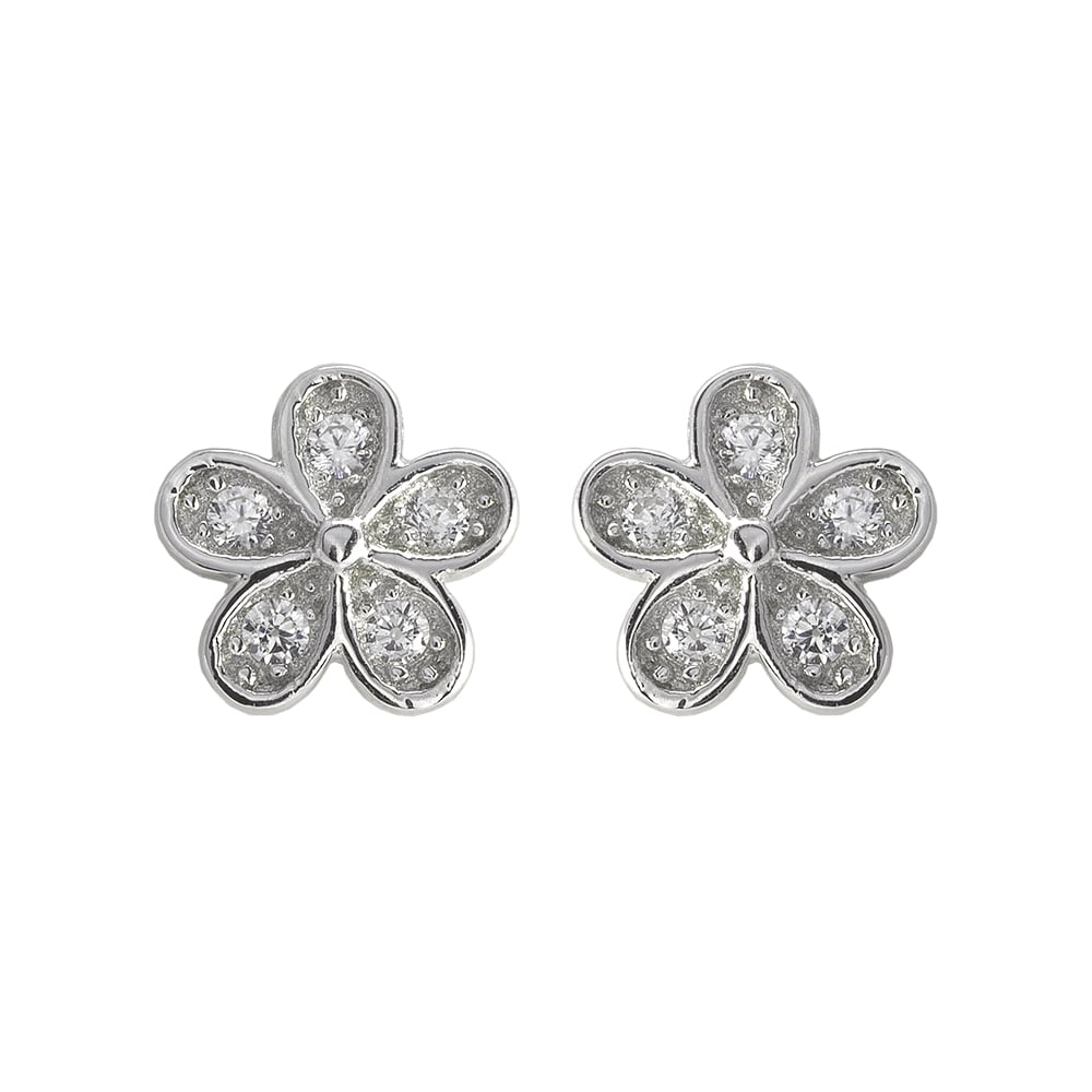 Danish Collection Silver/Crystal Flower Stud Earrings